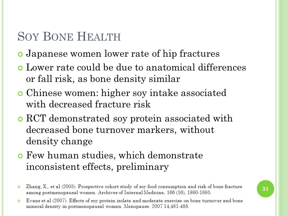Soy Bone Health Japanese women lower rate of hip fractures