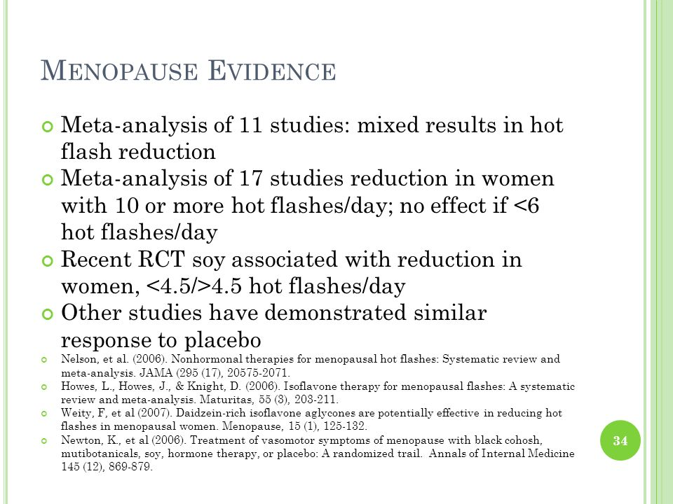 Menopause Evidence Meta-analysis of 11 studies: mixed results in hot flash reduction.
