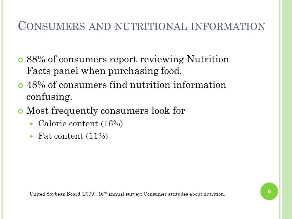 Consumers and nutritional information