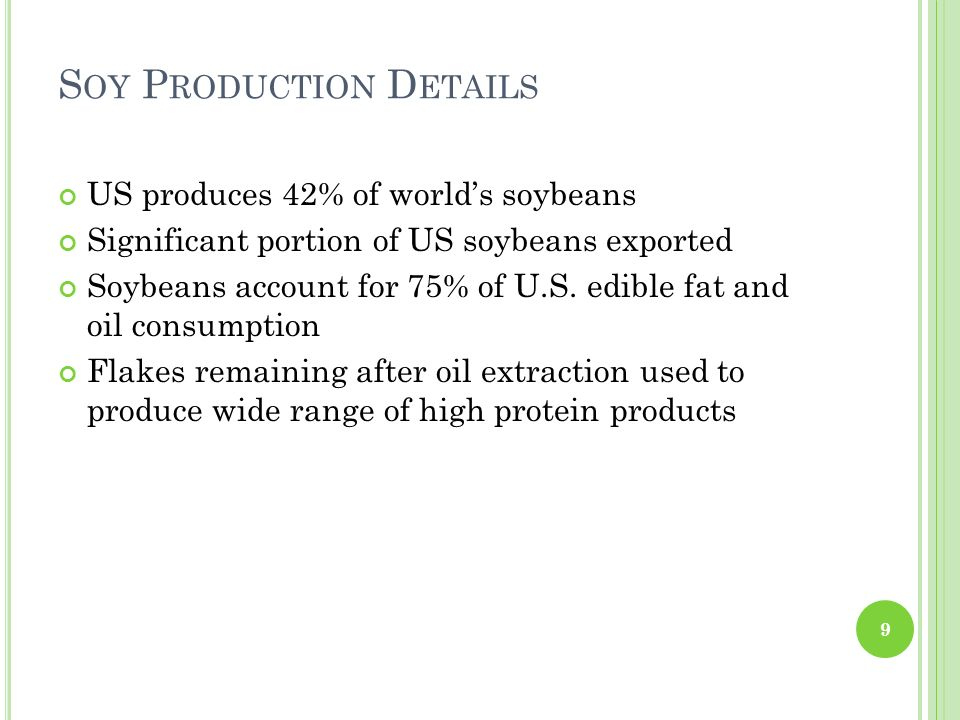 Soy Production Details