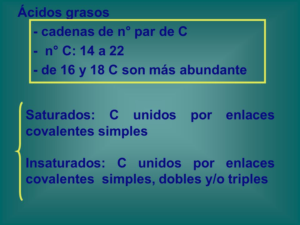 Ácidos grasos - cadenas de n° par de C. - n° C: 14 a 22. - de 16 y 18 C son más abundante. Saturados: C unidos por enlaces covalentes simples.