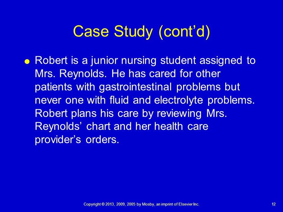 fluid electrolyte case studies nursing students Understanding electrolytes: 15 interactive teaching cases rajeev raghavan published: september 12, 2013 | 1015766/mep students in health care professions have.