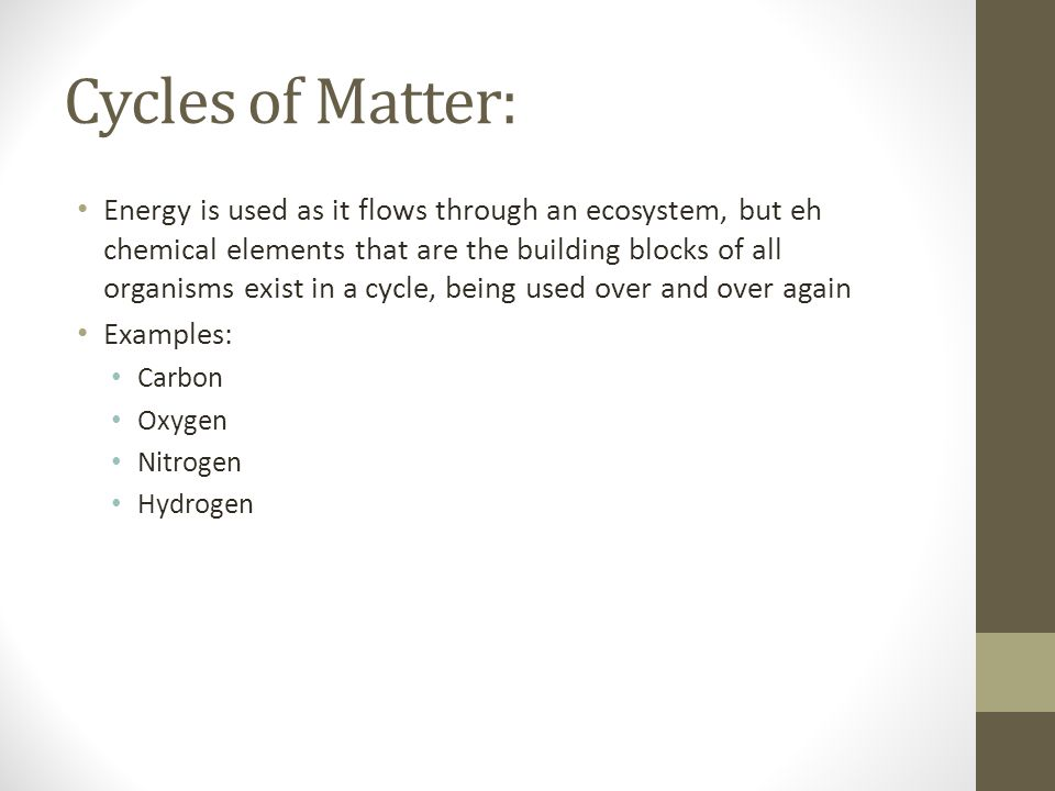 Cycles of Matter: