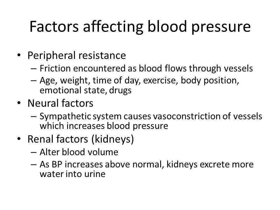 Factors affecting blood pressure