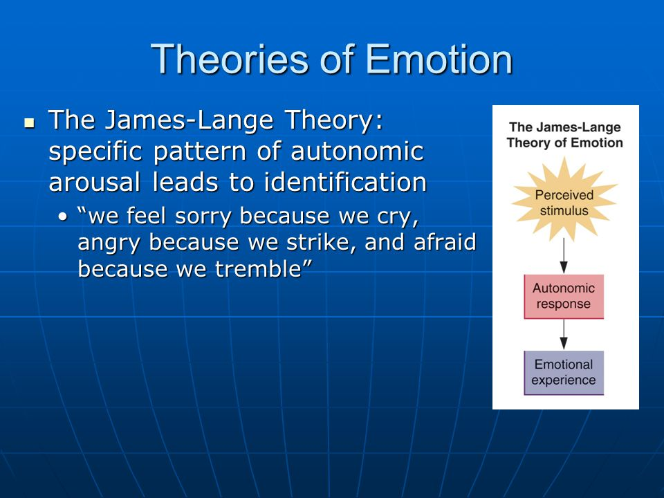 explain james lange theory of emotion and give me a personal example Theories on emotion offer different ideas in terms of the james-lange theory of emotion the example sited by james was that of someone's reaction when they.