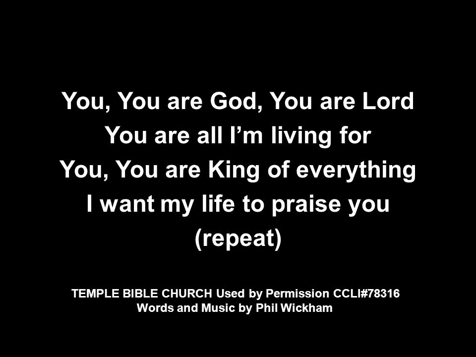 You, You are God, You are Lord You are all I'm living for