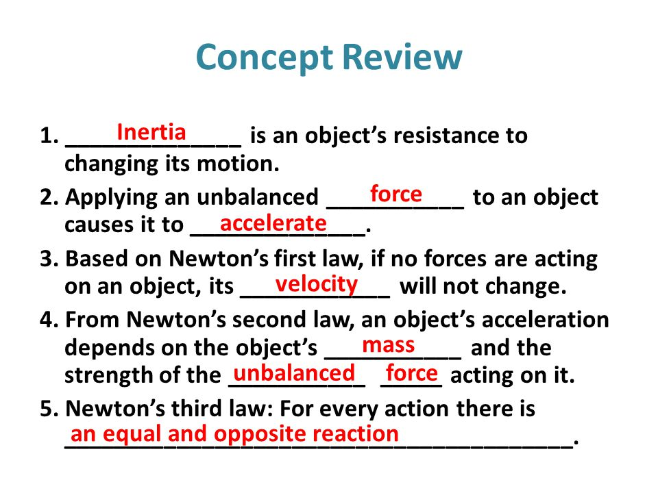 Concept Review Inertia
