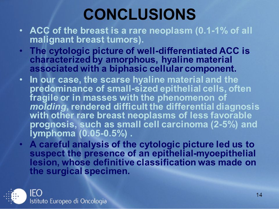 CONCLUSIONS ACC of the breast is a rare neoplasm (0.1-1% of all malignant breast tumors).