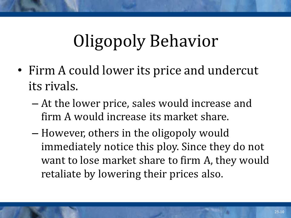 Oligopoly Behavior Firm A could lower its price and undercut its rivals.