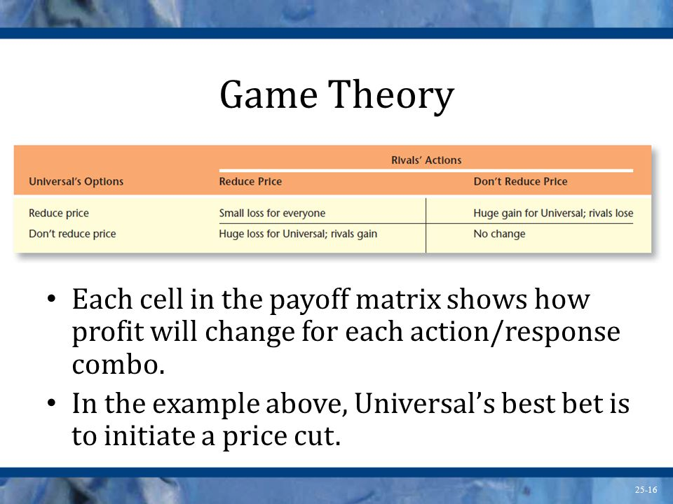 Game Theory Each cell in the payoff matrix shows how profit will change for each action/response combo.