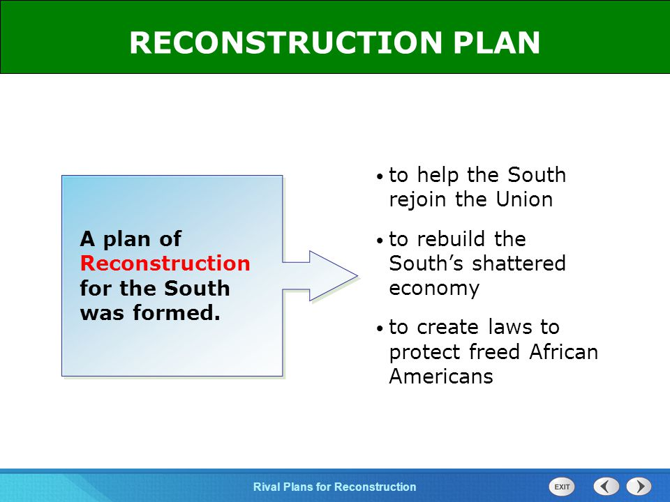 RECONSTRUCTION PLAN to help the South rejoin the Union