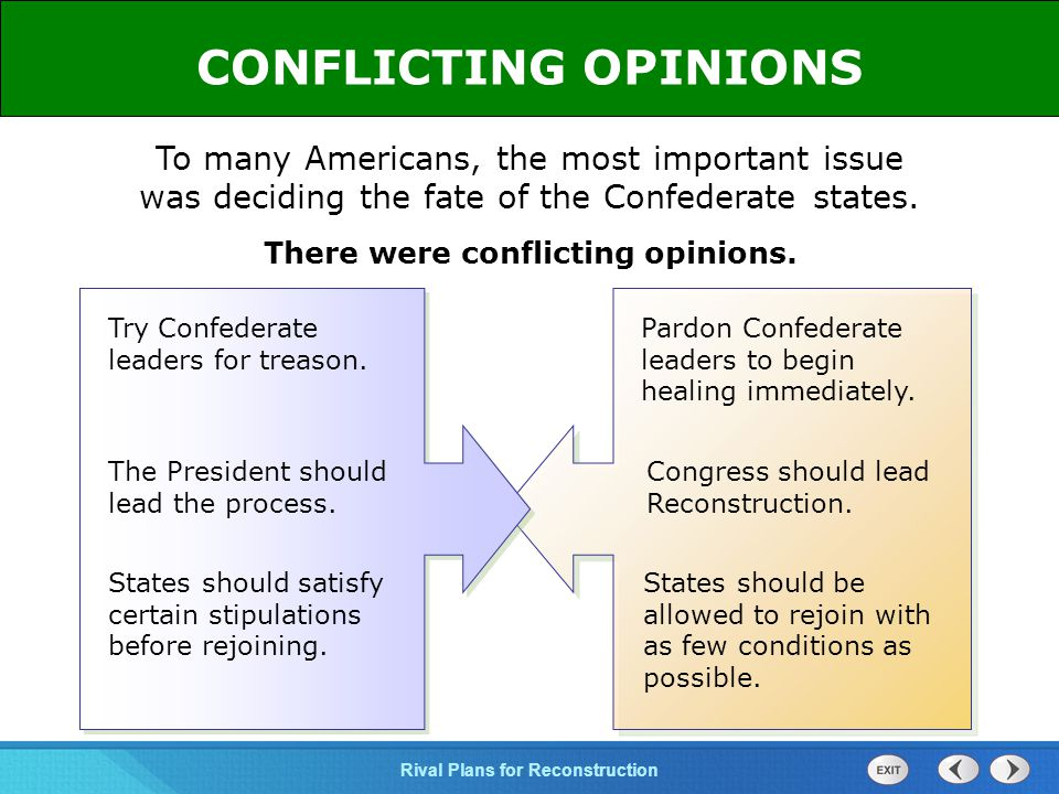 CONFLICTING OPINIONS To many Americans, the most important issue was deciding the fate of the Confederate states.