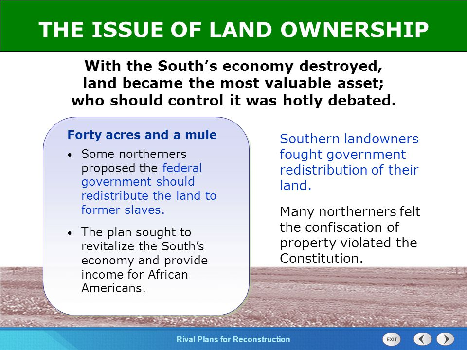 THE ISSUE OF LAND OWNERSHIP