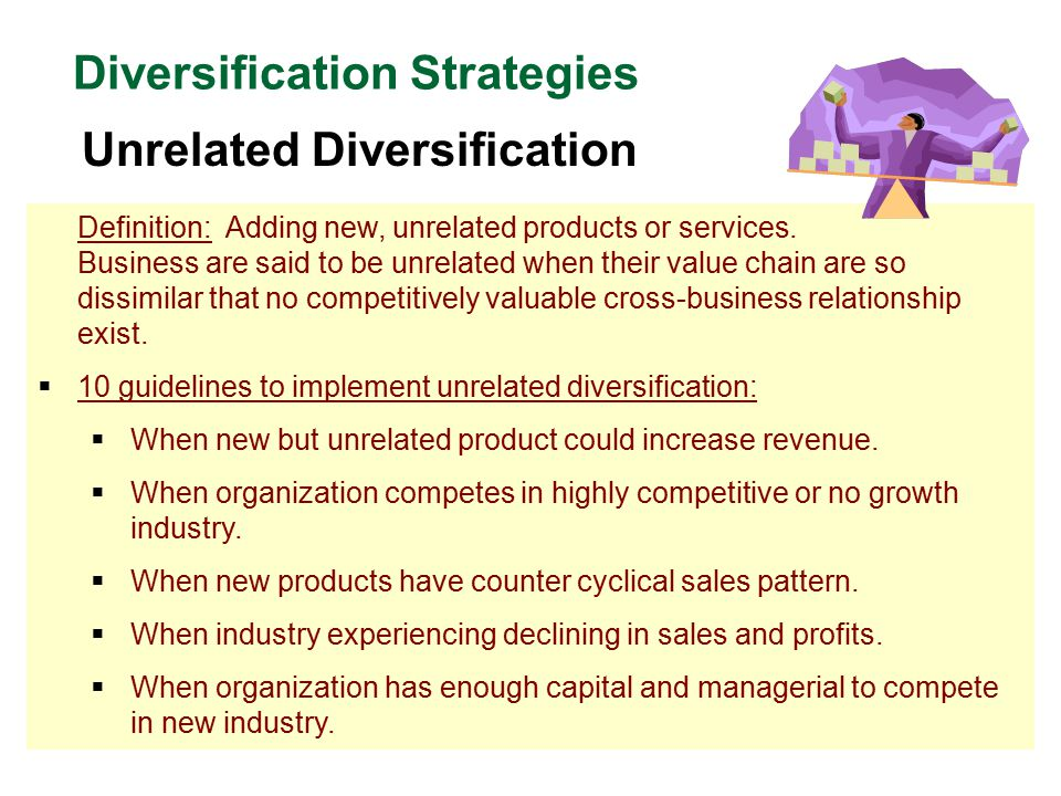 related diversification vs unrelated diversification Starbucks – related diversification starbucks is a global coffee chain, originating from the us  the business has been pursuing a long-term strategy.