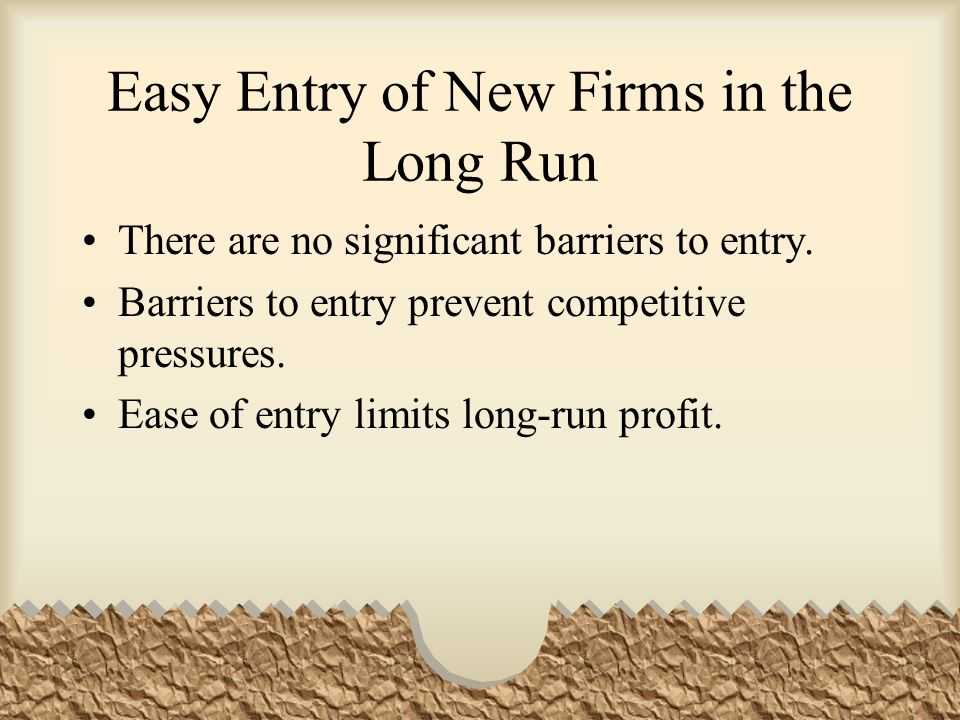 Easy Entry of New Firms in the Long Run