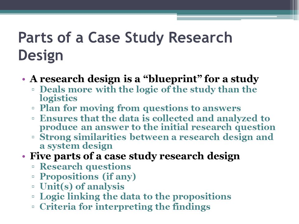 yin case studies 2009 According to yin (1994) the case study design must have five components: the research question(s), its propositions, its unit(s) of analysis, a determination of how the data are linked to the propositions and criteria to interpret.