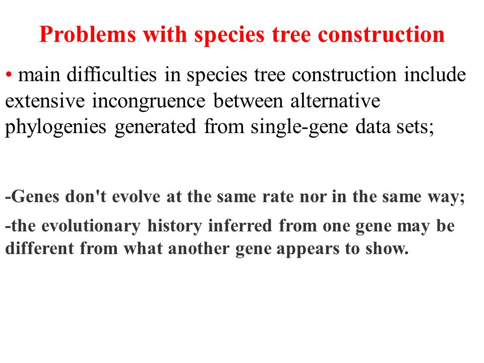 Problems with species tree construction