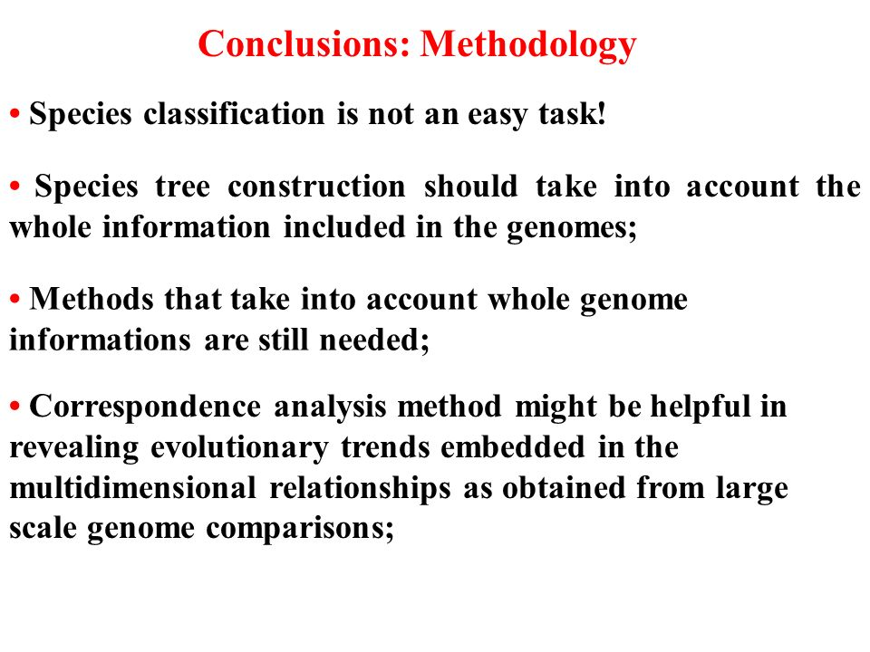 Conclusions: Methodology