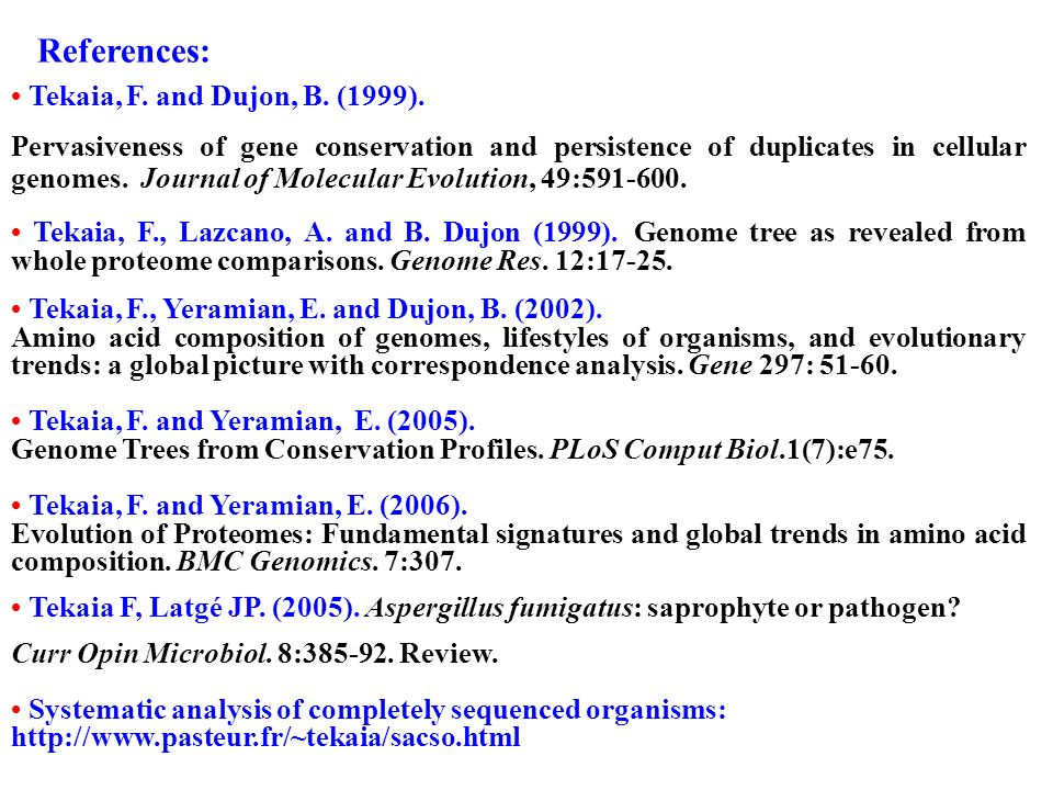 References: • Tekaia, F. and Dujon, B. (1999).