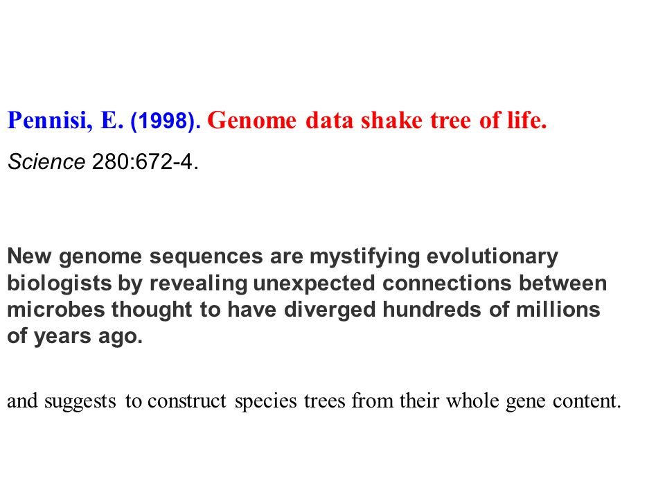 Pennisi, E. (1998). Genome data shake tree of life.