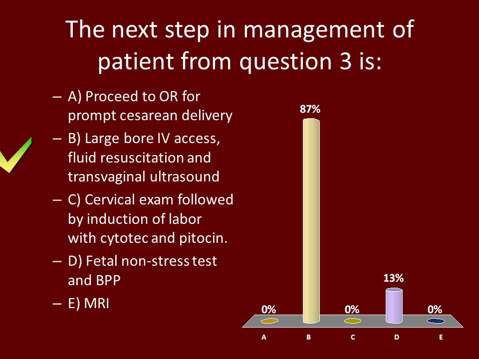 The next step in management of patient from question 3 is: