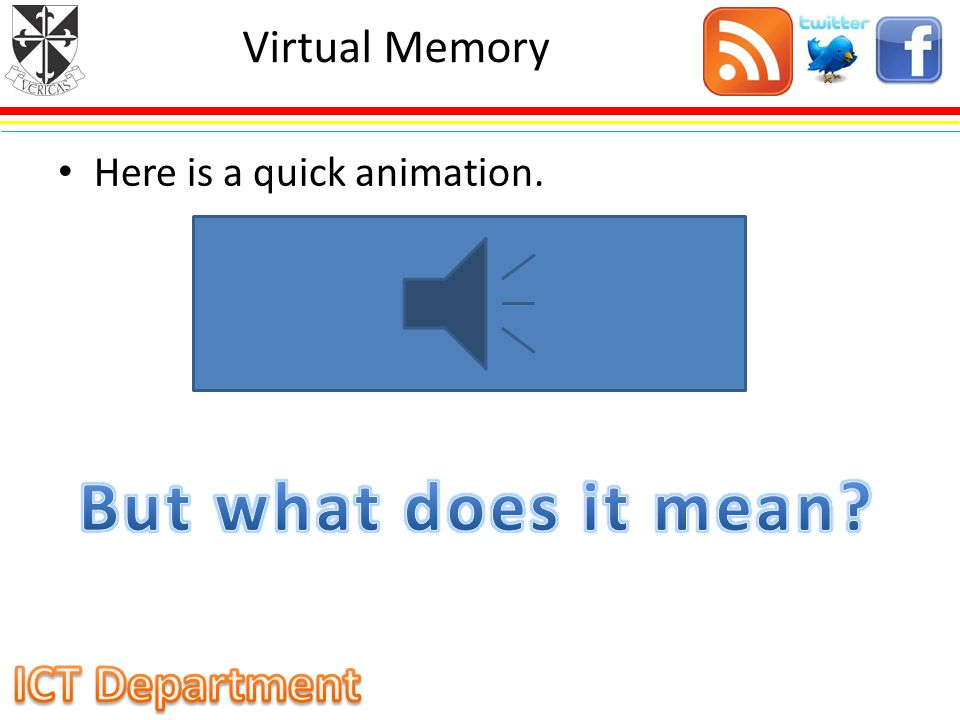 Virtual Memory Here is a quick animation. But what does it mean