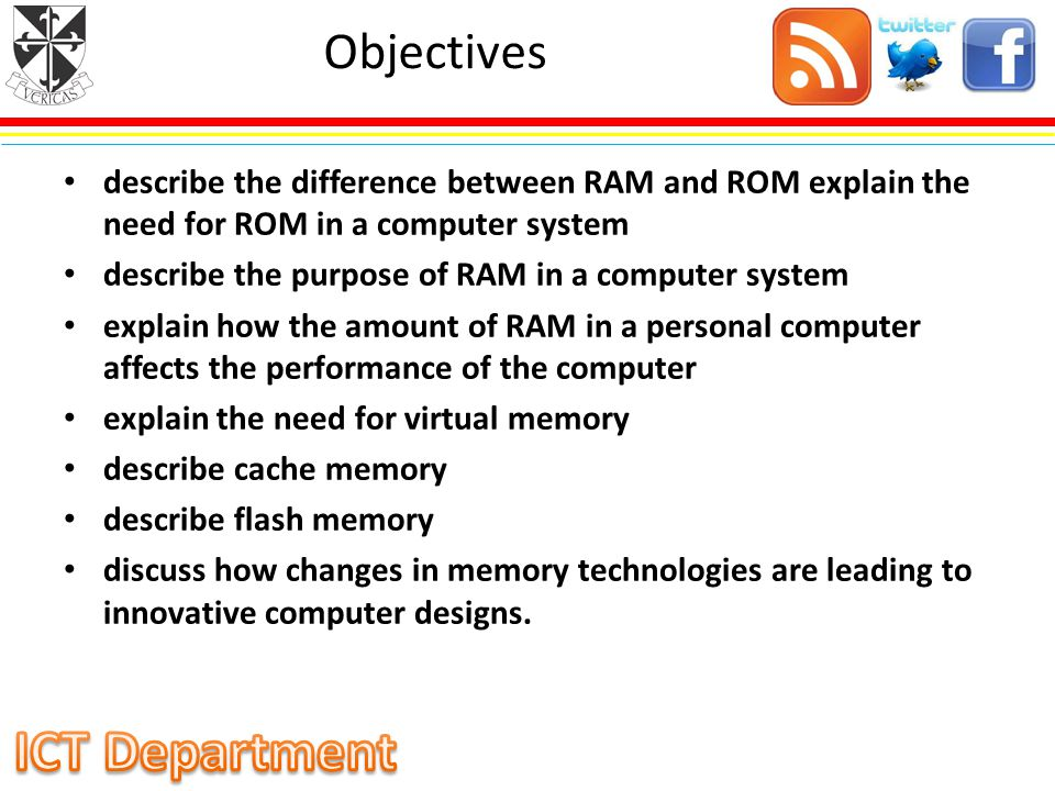 Objectives describe the difference between RAM and ROM explain the need for ROM in a computer system.