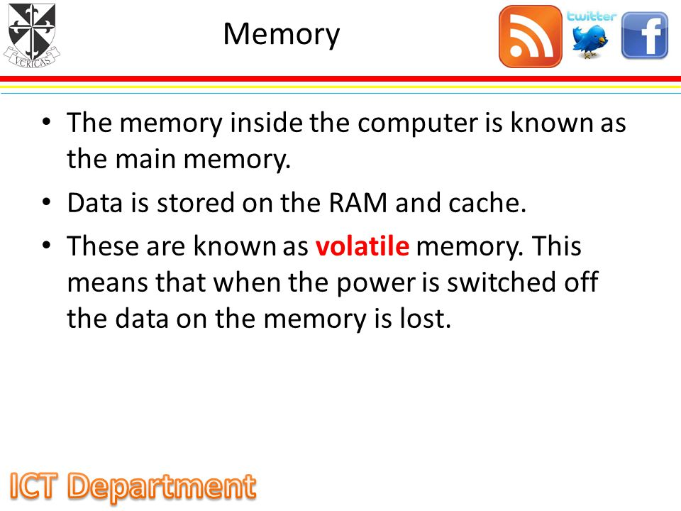 Memory The memory inside the computer is known as the main memory.
