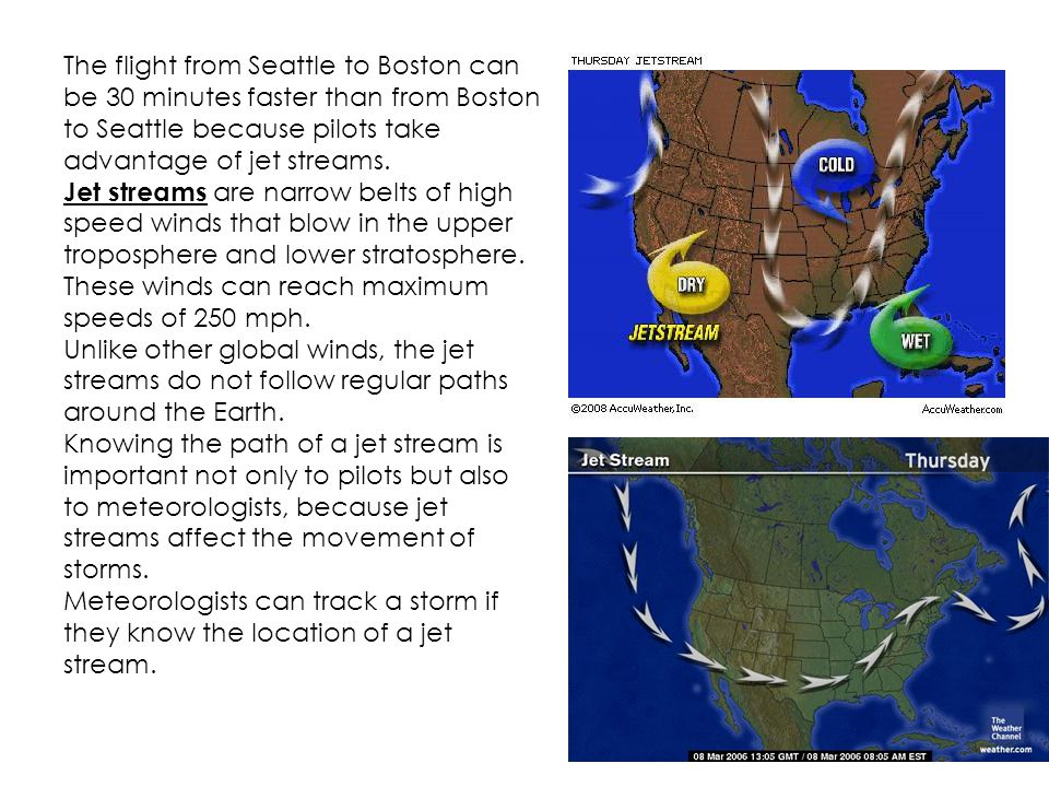 The flight from Seattle to Boston can be 30 minutes faster than from Boston to Seattle because pilots take advantage of jet streams.