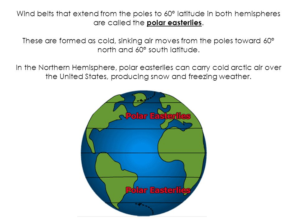 Wind belts that extend from the poles to 60° latitude in both hemispheres are called the polar easterlies.