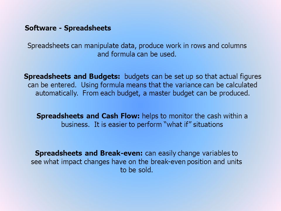 Software - Spreadsheets