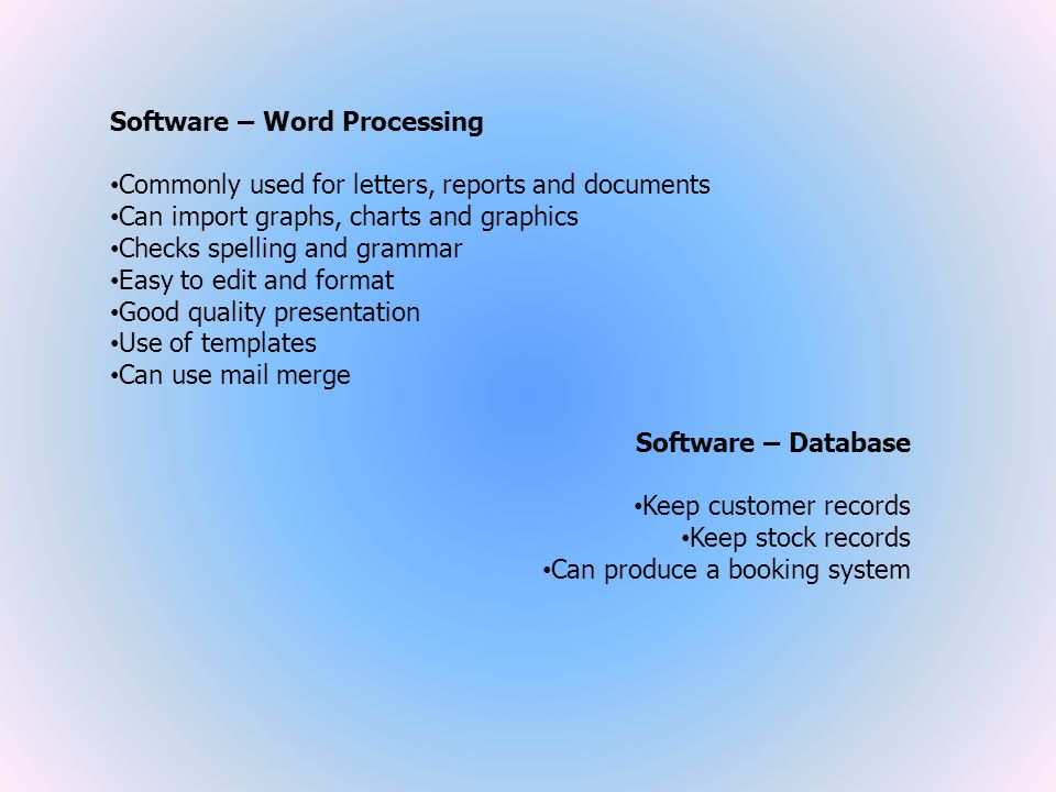Software – Word Processing