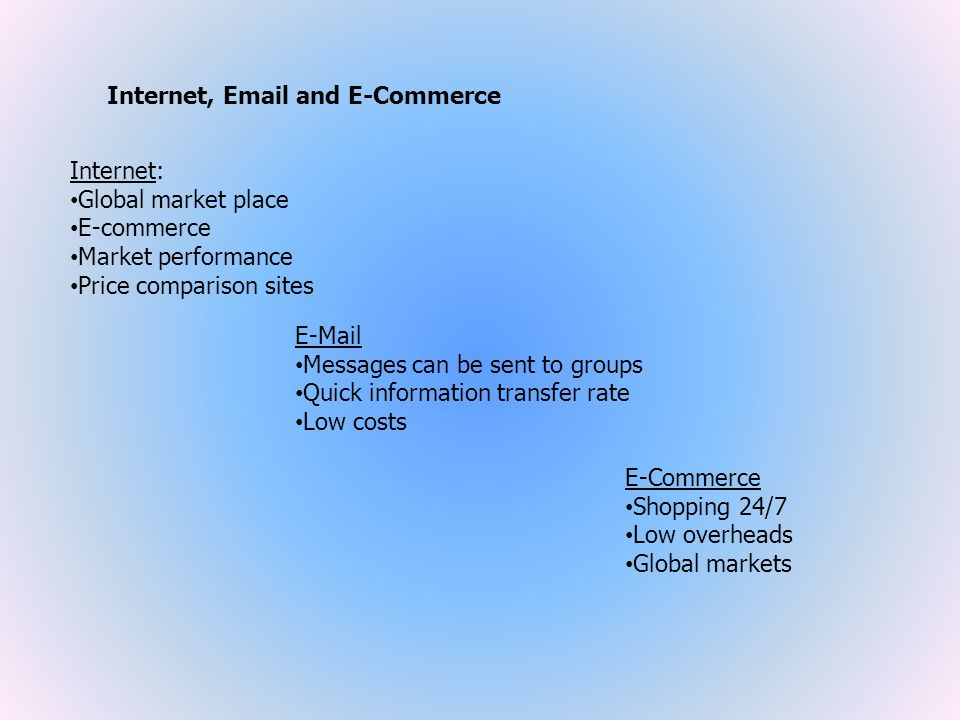 Internet, Email and E-Commerce