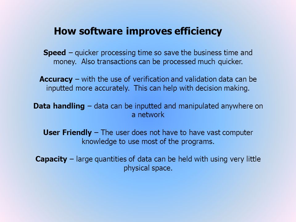 How software improves efficiency
