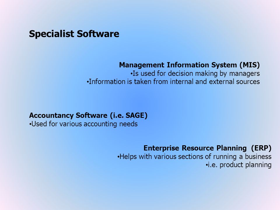 Specialist Software Management Information System (MIS)