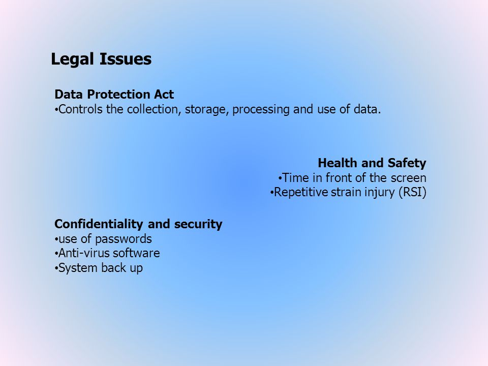 Legal Issues Data Protection Act