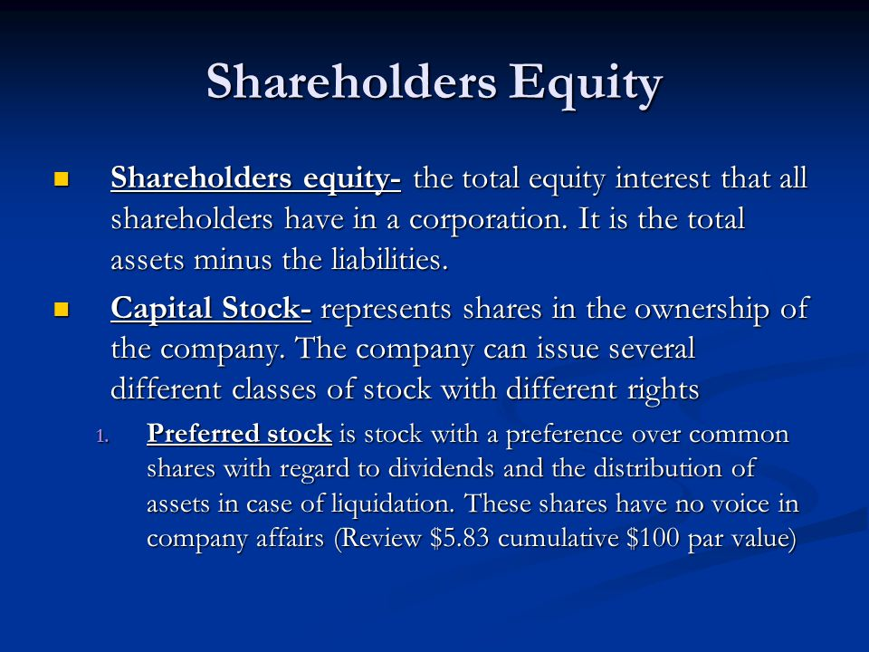Shareholders Equity