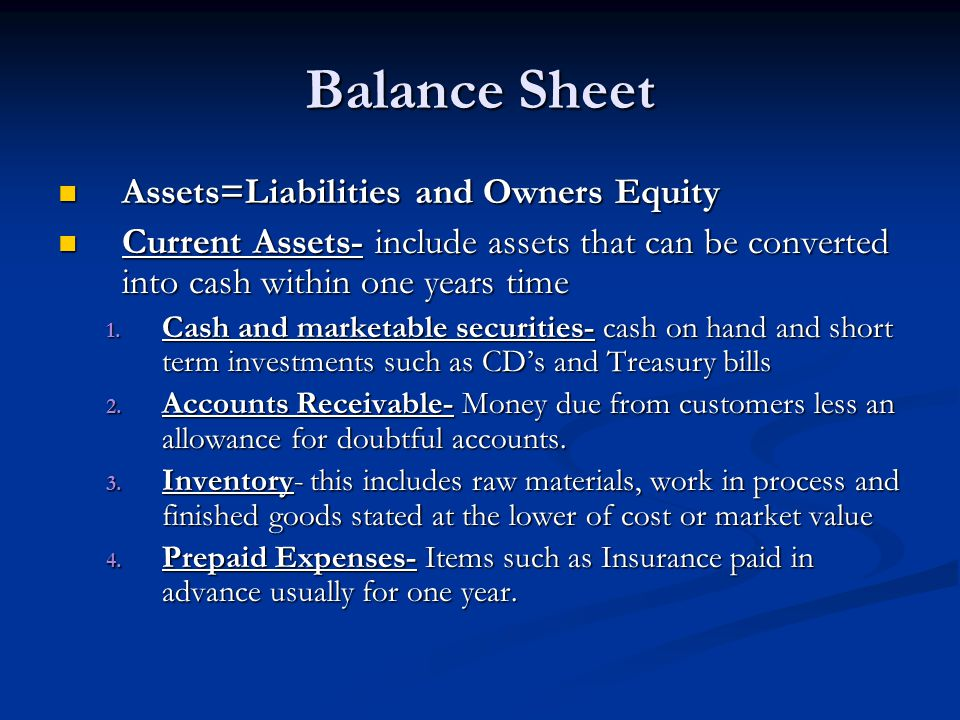 Balance Sheet Assets=Liabilities and Owners Equity