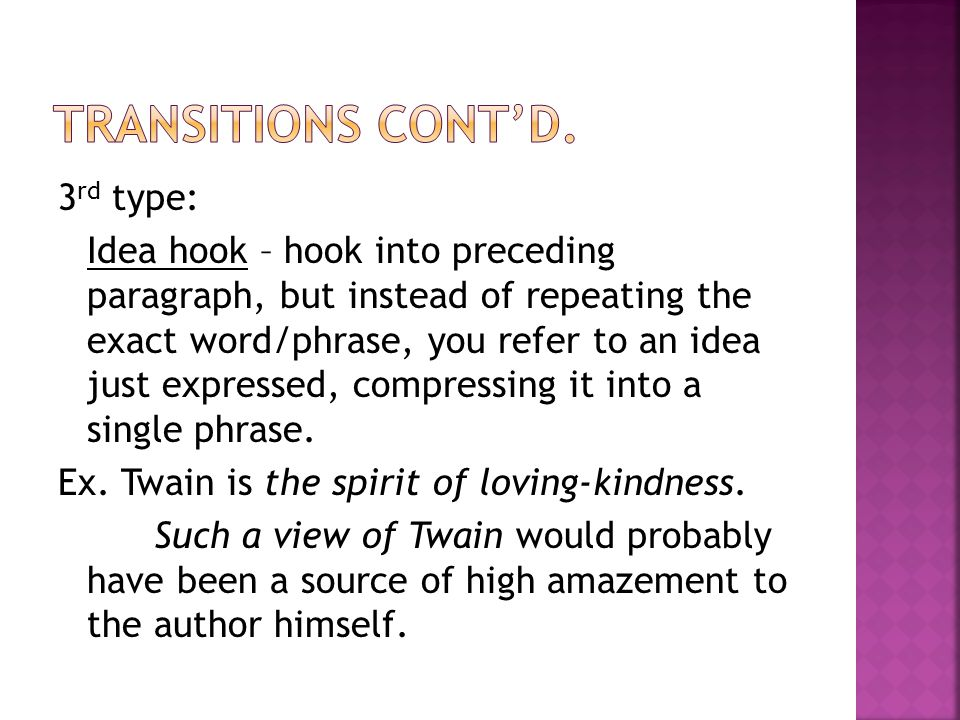 hook transition thesis Find an answer to your question hook thesis topic sentence concrete detail commentary transition lead-in clincher summary parenthetical cita.