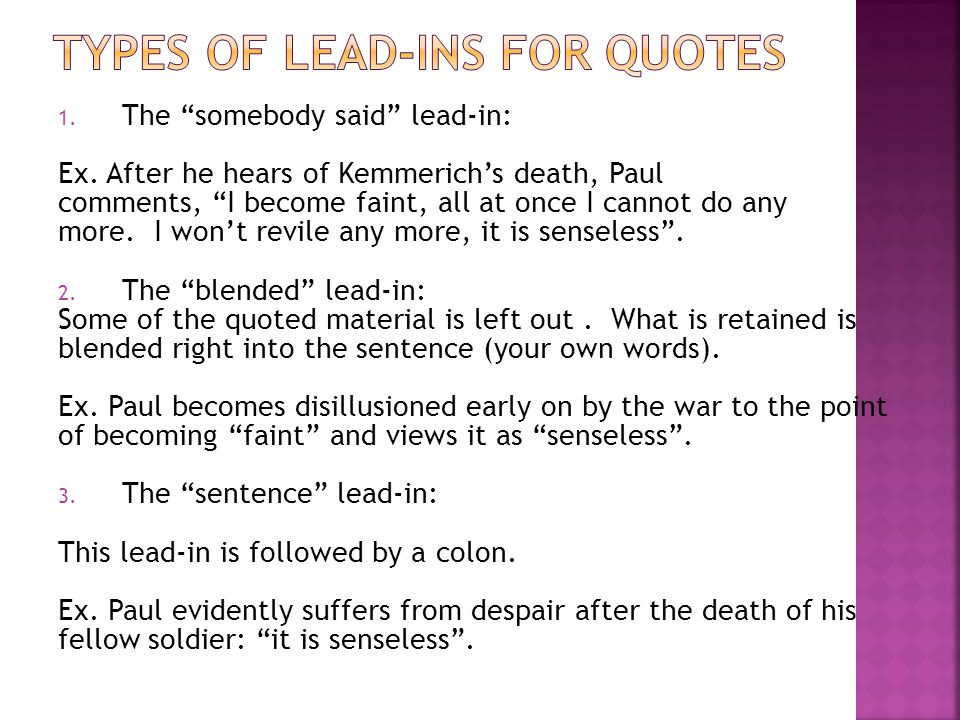 Types of quotations in essays