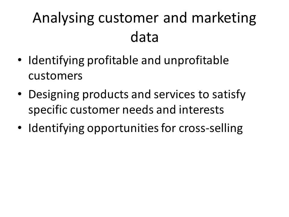 Analysing customer and marketing data