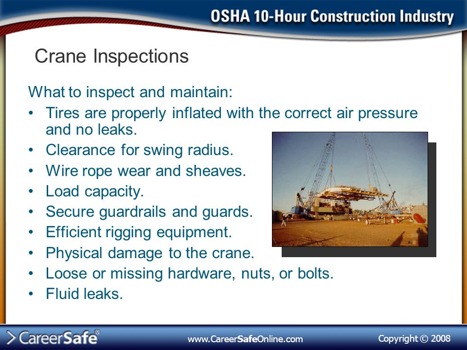 Crane Inspections What to inspect and maintain: