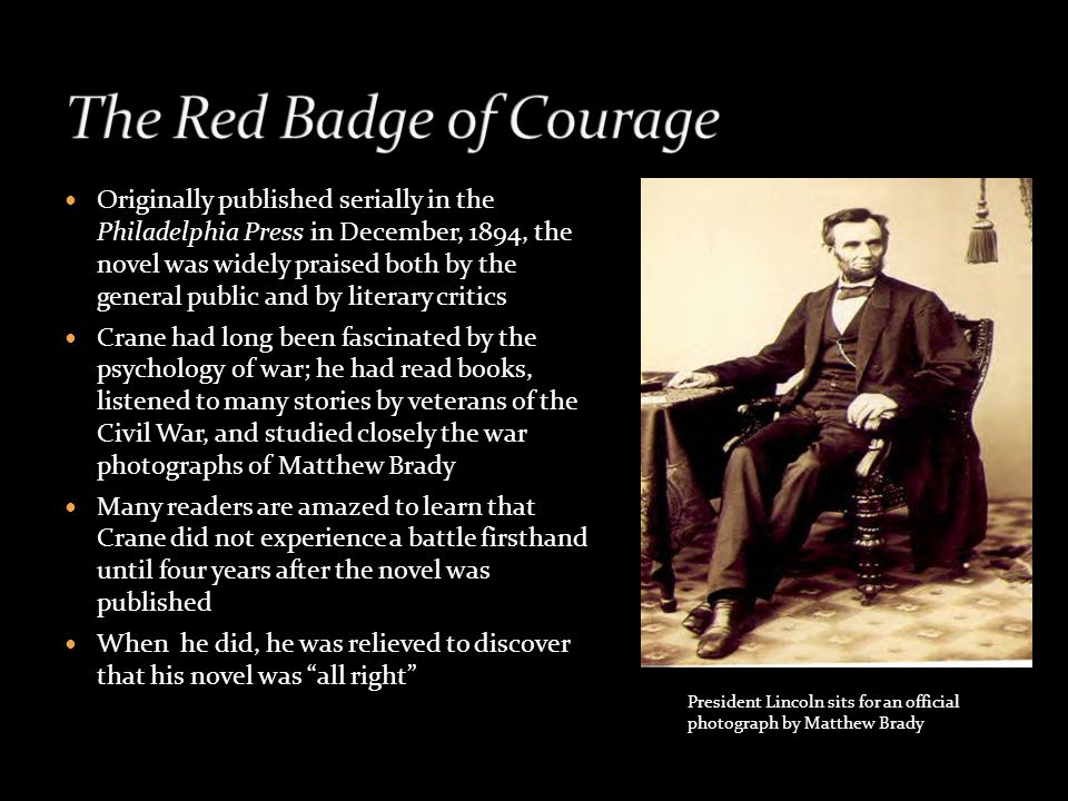 an analysis of the red badge of courage a civil war novel by stephen crane Stephen crane, the red badge of courage:  assumed that crane had fought in the civil war if red badge were  reads red badge as a novel of specatular.