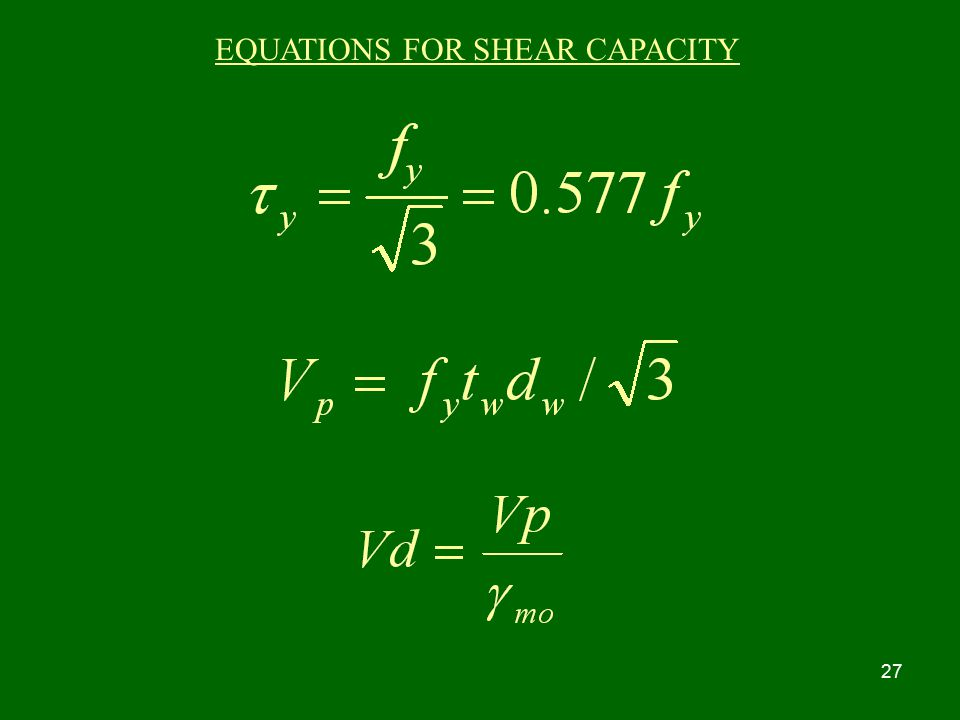 EQUATIONS FOR SHEAR CAPACITY