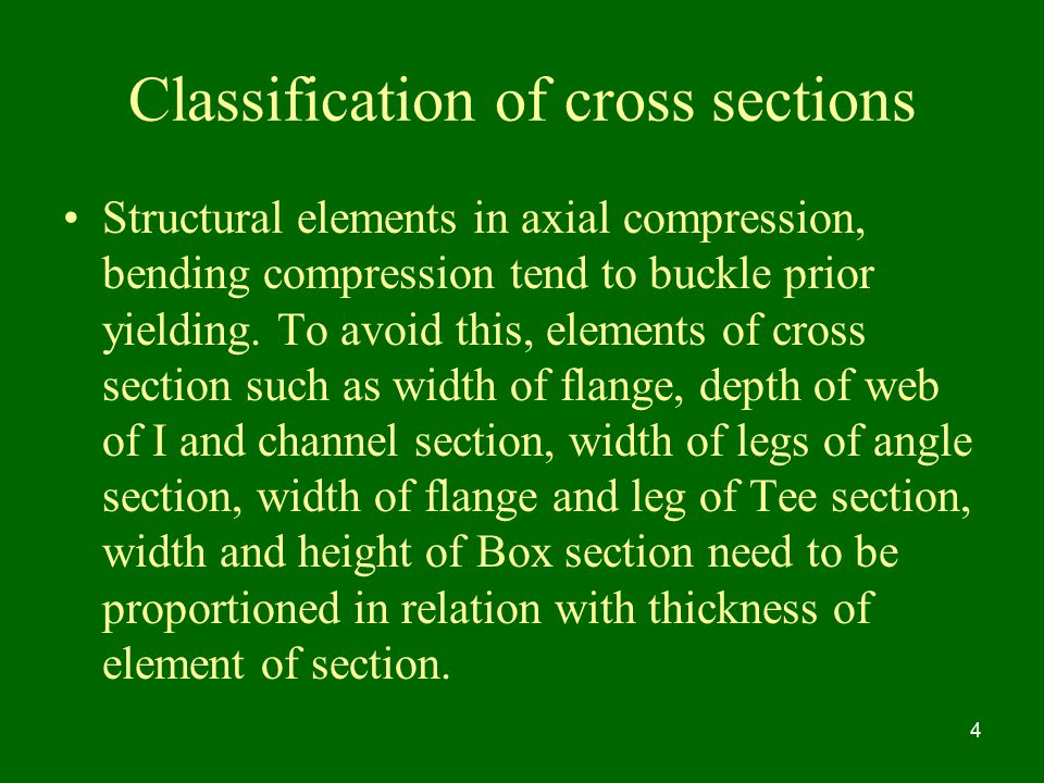 Classification of cross sections