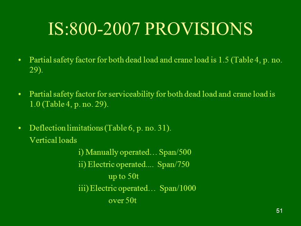 IS: PROVISIONS Partial safety factor for both dead load and crane load is 1.5 (Table 4, p. no. 29).