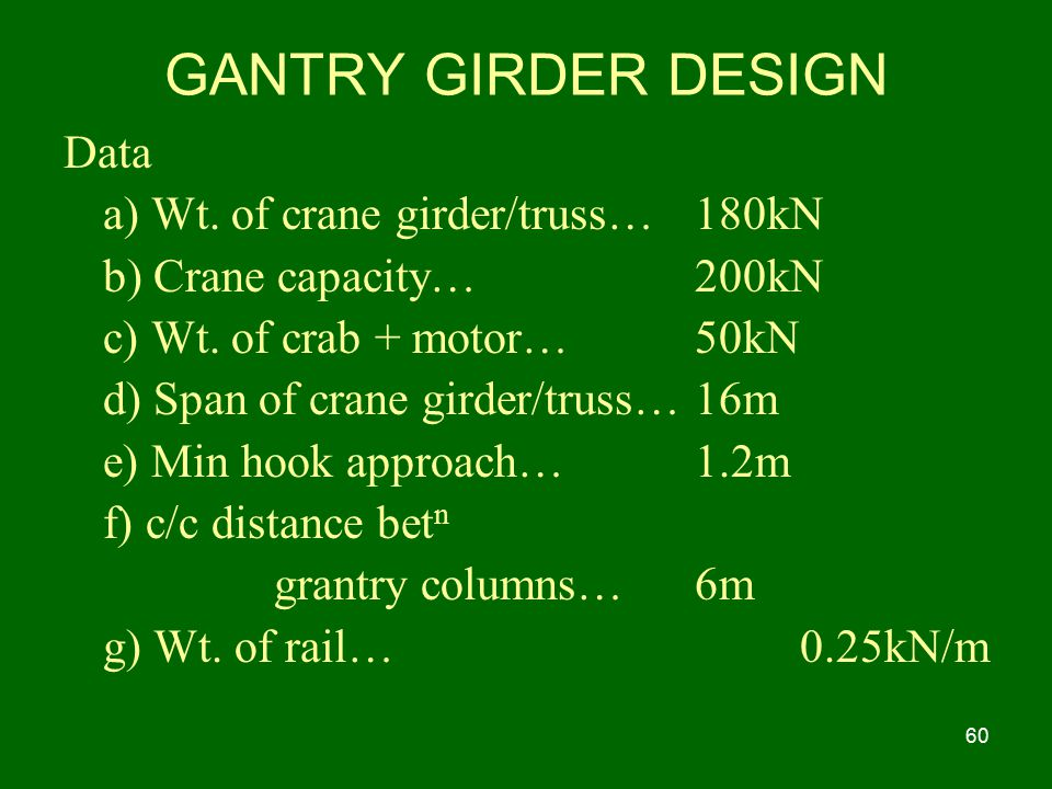 GANTRY GIRDER DESIGN Data a) Wt. of crane girder/truss… 180kN