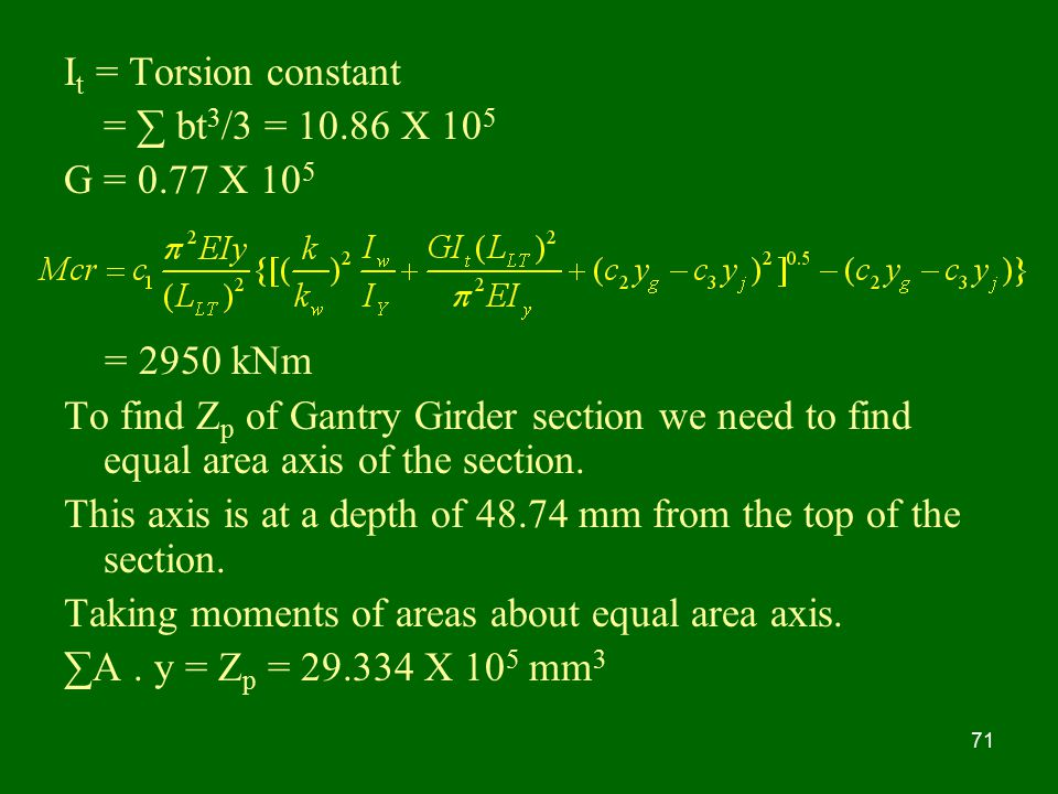 It = Torsion constant = ∑ bt3/3 = X 105. G = 0.77 X 105. = 2950 kNm.