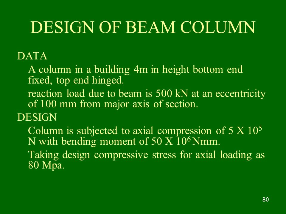 DESIGN OF BEAM COLUMN DATA