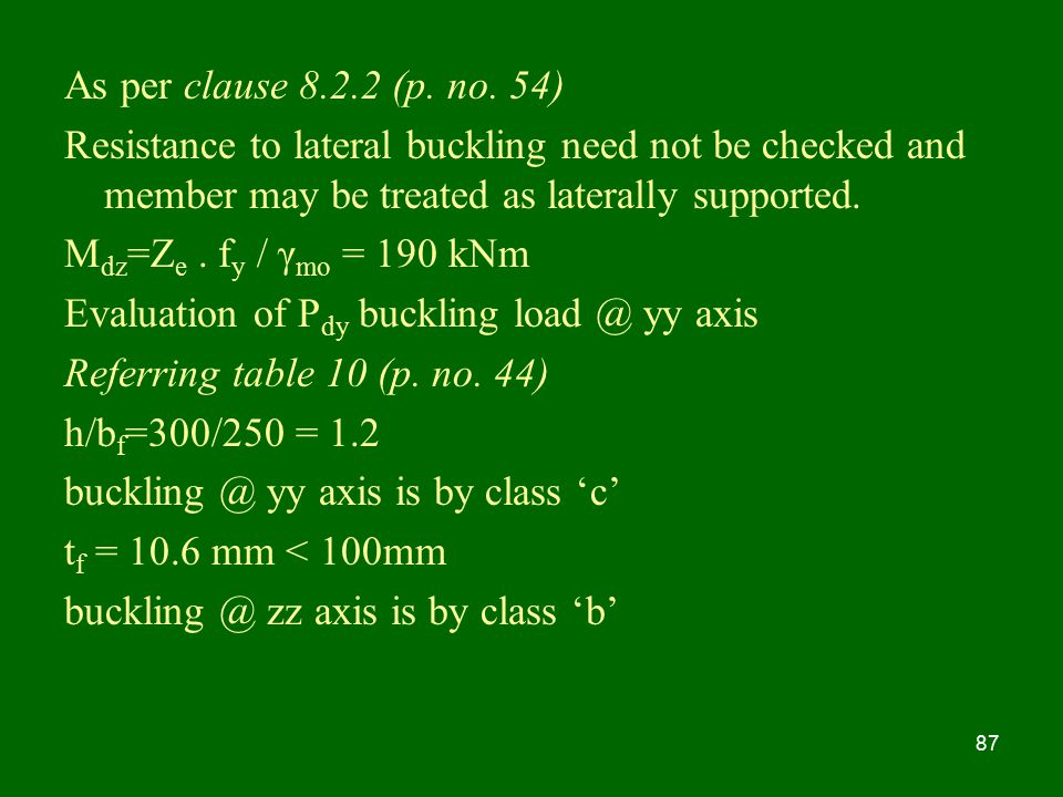 As per clause (p. no. 54) Resistance to lateral buckling need not be checked and member may be treated as laterally supported.
